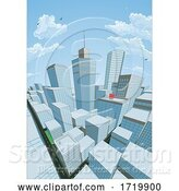 Vector Illustration of City Buildings Comic Book Style Background by AtStockIllustration