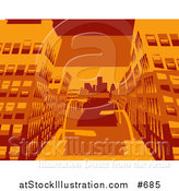 Vector Illustration of City Buildings in Orange Tones by AtStockIllustration