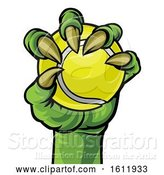 Vector Illustration of Claw Monster Hand Holding a Tennis Ball by AtStockIllustration