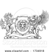 Vector Illustration of Coat of Arms Crest Griffin Horse Family Shield by AtStockIllustration