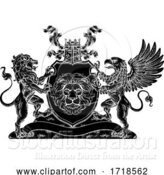Vector Illustration of Coat of Arms Crest Griffin Lion Family Shield Seal by AtStockIllustration