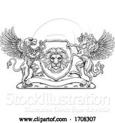Vector Illustration of Coat of Arms Crest Griffin Pegasus Lion Shield by AtStockIllustration