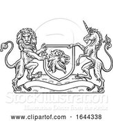 Vector Illustration of Coat of Arms Heraldic Lion and Unicorn Shield by AtStockIllustration