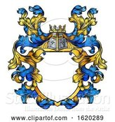 Vector Illustration of Coat of Arms Knight Crest Heraldic Family Shield by AtStockIllustration