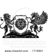 Vector Illustration of Coat of Arms Pegasus Lion Crest Shield Family Seal by AtStockIllustration