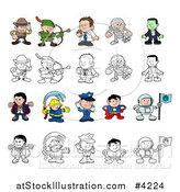 Vector Illustration of Colored and Outlined People and Children in Halloween Costumes and Uniforms by AtStockIllustration