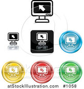 Vector Illustration of Colored Computer Screen Icon Buttons by AtStockIllustration