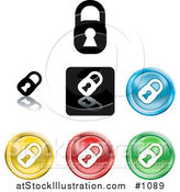 Vector Illustration of Colored Padlock Button Icons by AtStockIllustration