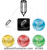 Vector Illustration of Colored Pencil Icon Buttons by AtStockIllustration