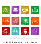 Vector Illustration of Colorful and White Square Christian Icons by AtStockIllustration