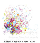 Vector Illustration of Colorful Butterflies Swirls Vines and Flowers with Grunge on White by AtStockIllustration