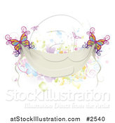 Vector Illustration of Colorful Butterflies with a Blank Banner and Splatters by AtStockIllustration