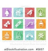 Vector Illustration of Colorful Flat Design Square Christmas Item Icons by AtStockIllustration