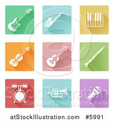 Vector Illustration of Colorful Flat Design Square Music Instrument Icons by AtStockIllustration