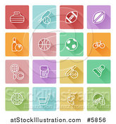 Vector Illustration of Colorful Flat Design Square Sports Icons by AtStockIllustration