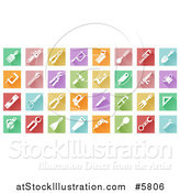 Vector Illustration of Colorful Flat Design Square Tiles with White Tool Icons by AtStockIllustration