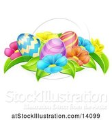 Vector Illustration of Colorful Flowers and Easter Eggs by AtStockIllustration