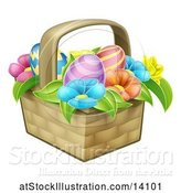 Vector Illustration of Colorful Flowers and Easter Eggs in a Basket by AtStockIllustration