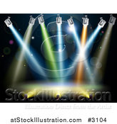 Vector Illustration of Colorful Spot Lights Shining over a Stage by AtStockIllustration