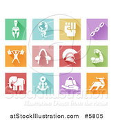 Vector Illustration of Colorful Square Flat Design Tiles with White Sports and Strength Icons by AtStockIllustration