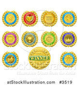 Vector Illustration of Colorful Winner and Product Medals by AtStockIllustration