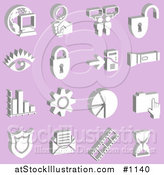 Vector Illustration of Computer, Globe, Magnifying Glass, Messenger, Padlock, Eye, Mp3 Player, Flashlight, Graph, Cog, Pie Chart, Folder, Badge, Envelope, Film Strip and Hourglass over a Purple Background by AtStockIllustration