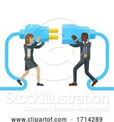Vector Illustration of Connecting Plug Fitting Together Business Concept by AtStockIllustration