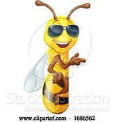 Vector Illustration of Cool Honey Bumble Bee in Sunglasses Sign by AtStockIllustration