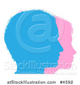 Vector Illustration of Couple Faces Silhouetted in Blue and Pink by AtStockIllustration
