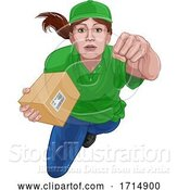 Vector Illustration of Courier Delivery Superhero Delivering Package Box by AtStockIllustration
