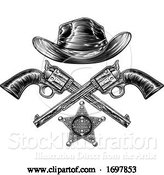 Vector Illustration of Cowboy Hat with Sheriff Star with Crossed Pistols by AtStockIllustration