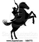 Vector Illustration of Cowboy Riding Horse Silhouette by AtStockIllustration