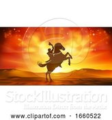 Vector Illustration of Cowboy Riding Horse Silhouette Sunset Background by AtStockIllustration