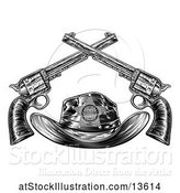 Vector Illustration of Cowboy Sheriff Hat with Crossed Guns in Black and White by AtStockIllustration