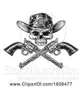 Vector Illustration of Cowboy Sheriff Skull over Crossed Guns in Black and White by AtStockIllustration