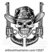 Vector Illustration of Cowboy Sheriff Skull with Crossed Guns in Black and White by AtStockIllustration