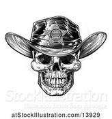 Vector Illustration of Cowboy Skull Wearing a Sheriff Hat, Black and White Vintage Engraved by AtStockIllustration