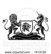 Vector Illustration of Crest Heraldic Lion Unicorn Shield Coat of Arms by AtStockIllustration