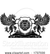 Vector Illustration of Crest Pegasus Horses Coat of Arms Lion Shield Seal by AtStockIllustration