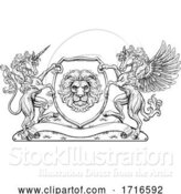 Vector Illustration of Crest Pegasus Unicorn Coat of Arms Lion Shield by AtStockIllustration
