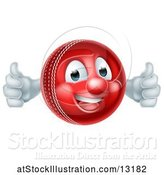 Vector Illustration of Cricket Ball Mascot Character Giving Two Thumbs up by AtStockIllustration