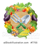 Vector Illustration of Crossed Garden Tools over Wood in a Vegetable Wreath by AtStockIllustration