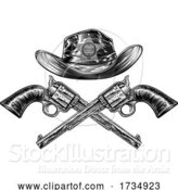 Vector Illustration of Crossed Hand Guns and Sheriff Star Cowboy Hat by AtStockIllustration