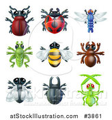 Vector Illustration of Cute Beetles and Other Bugs by AtStockIllustration