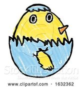 Vector Illustration of Cute Easter Chick Childs Drawing by AtStockIllustration