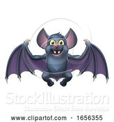 Vector Illustration of Cute Halloween Vampire Bat Animal by AtStockIllustration
