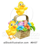 Vector Illustration of Cute Yellow Chicks with an Easter Basket of Eggs and Flowers by AtStockIllustration
