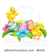 Vector Illustration of Cute Yellow Chicks with Easter Eggs and Flowers by AtStockIllustration