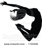 Vector Illustration of Dancer Silhouette Jumping by AtStockIllustration