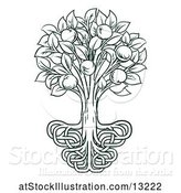Vector Illustration of Dark Green Apple Tree with Stylized Roots by AtStockIllustration